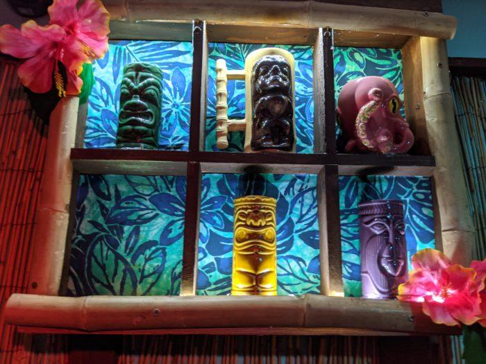 Tiki mugs in our Tiki Lounge Escape Game